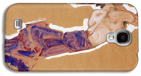 Pastimes Galaxy S4 Cases - Reclining Semi-Nude with Red Hat Galaxy S4 Case by Egon Schiele