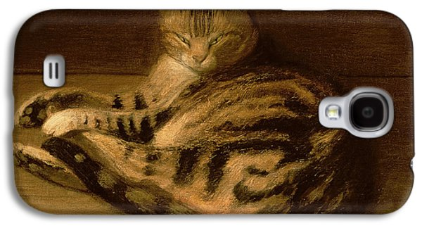Lounge Paintings Galaxy S4 Cases - Recumbent Cat Galaxy S4 Case by Theophile Alexandre Steinlen