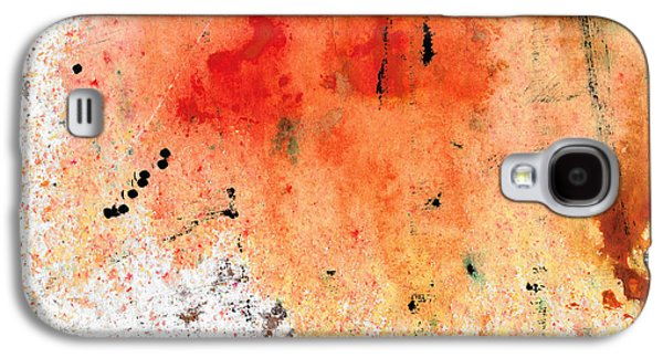 Drips Paintings Galaxy S4 Cases - Red Abstract Art - Taking Chances - By Sharon Cummings Galaxy S4 Case by Sharon Cummings