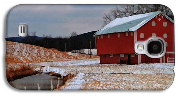 Red Barn In Winter Photographs Galaxy S4 Cases - Red Amish Barn In Winter Galaxy S4 Case by Dan Sproul
