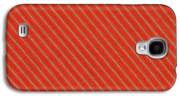 Textured Digital Art Galaxy S4 Cases - Red And Black Striped Diagonal Textile Background Galaxy S4 Case by Keith Webber Jr