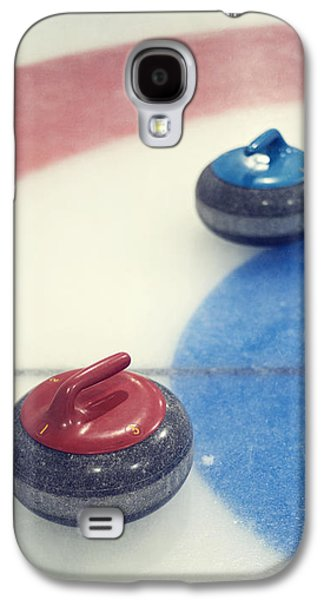 Sports Photographs Galaxy S4 Cases - Red and blue Curling Rock Galaxy S4 Case by Priska Wettstein