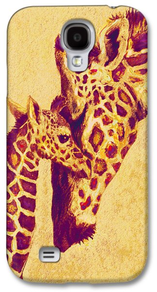 Giraffe Digital Galaxy S4 Cases - Red And Gold Giraffes Galaxy S4 Case by Jane Schnetlage
