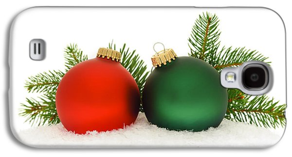 Festivities Galaxy S4 Cases - Red and green Christmas baubles Galaxy S4 Case by Elena Elisseeva