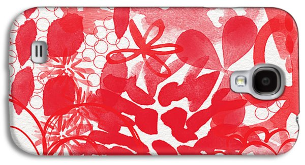 Red Mixed Media Galaxy S4 Cases - Red And White Bouquet- Abstract floral painting Galaxy S4 Case by Linda Woods
