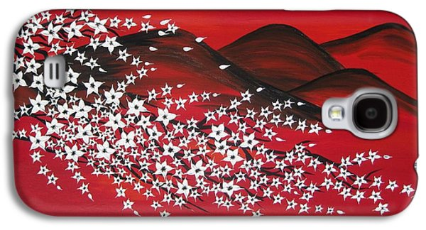Catherine White Paintings Galaxy S4 Cases - Red And White Sakura Galaxy S4 Case by Cathy Jacobs