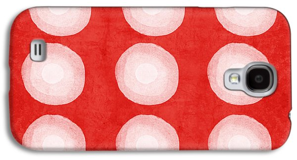 Texture Mixed Media Galaxy S4 Cases - Red and White Shibori Circles Galaxy S4 Case by Linda Woods