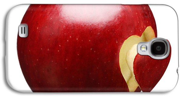Healthy Galaxy S4 Cases - Red Apple With Heart Galaxy S4 Case by Johan Swanepoel