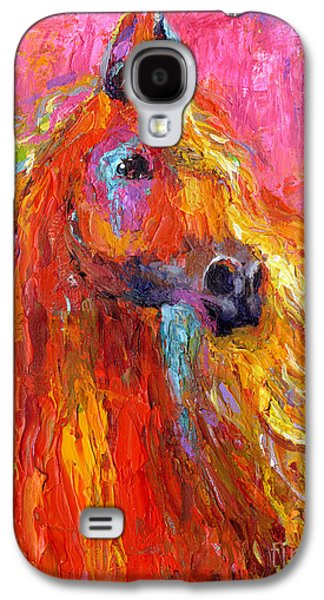 Contemporary Abstract Drawings Galaxy S4 Cases - Red Arabian Horse Impressionistic painting Galaxy S4 Case by Svetlana Novikova