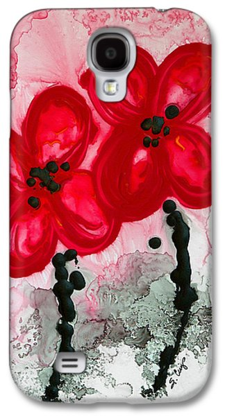 Black And White Art Galaxy S4 Cases - Red Asian Poppies Galaxy S4 Case by Sharon Cummings