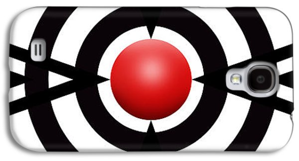 Abstracts Galaxy S4 Cases - Red Ball 6 Panoramic Galaxy S4 Case by Mike McGlothlen