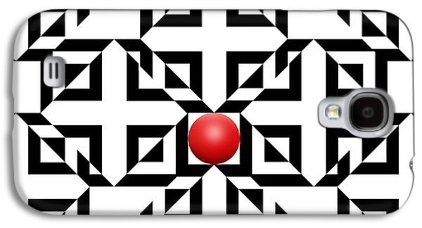 Modern Abstract Drawings Galaxy S4 Cases - Red Ball 5a  Galaxy S4 Case by Mike McGlothlen