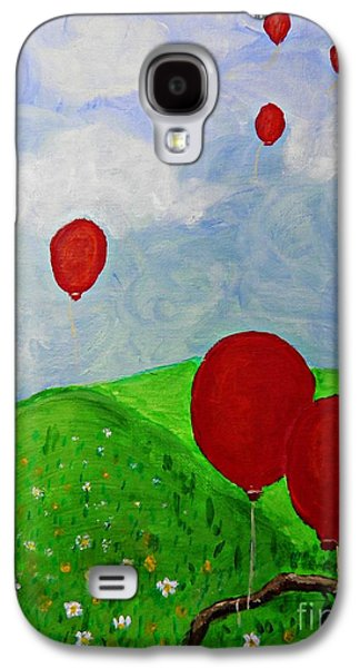 Balloon Flower Galaxy S4 Cases - Red Balloons Galaxy S4 Case by Sarah Loft