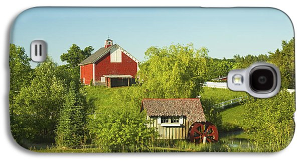 Maine Farms Galaxy S4 Cases - Red Barn And Water Mill On Farm In Maine Galaxy S4 Case by Keith Webber Jr