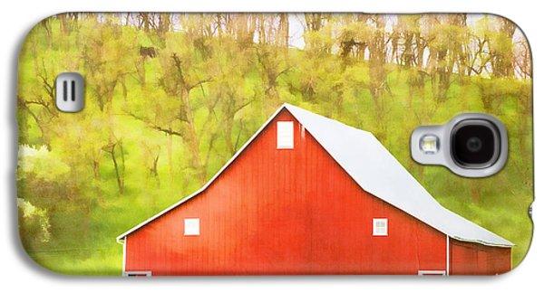 Red Barns Galaxy S4 Cases - Red Barn Green Hillside Galaxy S4 Case by Carol Leigh