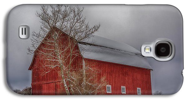 Red Barn In Winter Photographs Galaxy S4 Cases - Red Barn in HDR Galaxy S4 Case by Guy Whiteley