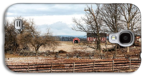 Red Barn In Winter Photographs Galaxy S4 Cases - Red Barn in the Field Galaxy S4 Case by John Rizzuto