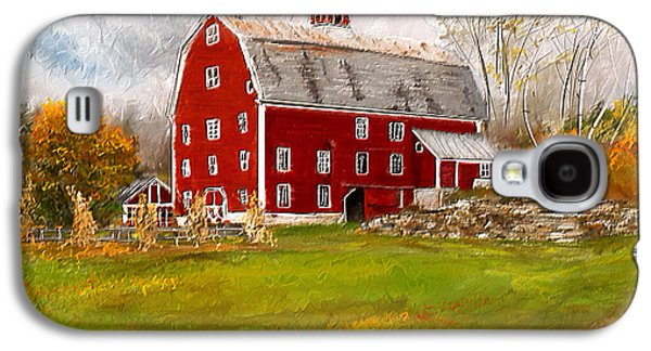 Autumn Scene Galaxy S4 Cases - Red Barn in Woodstock Vermont- Red Barn Art Galaxy S4 Case by Lourry Legarde