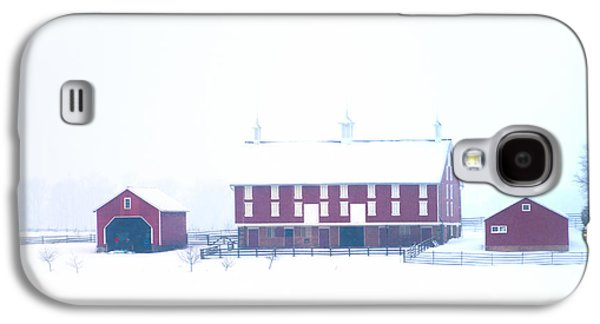 Snowy Day Galaxy S4 Cases - Red Barn on a Snowy Day - Gettysburg Galaxy S4 Case by Bill Cannon