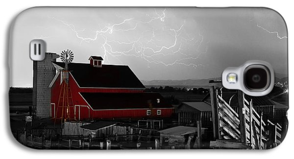 Summer Storm Galaxy S4 Cases - Red Barn On The Farm and Lightning Thunderstorm BWSC Galaxy S4 Case by James BO  Insogna
