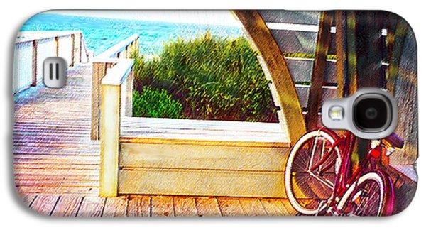 Florida Panhandle Galaxy S4 Cases - Red Bike On Beach Boardwalk Galaxy S4 Case by Jane Schnetlage