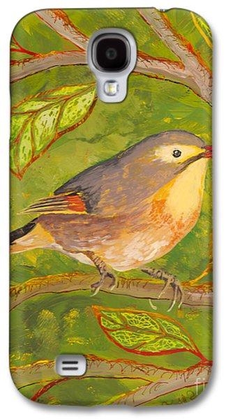 Bright Colors Glass Art Galaxy S4 Cases - Red-billed Leiothrix Galaxy S4 Case by Anna Skaradzinska