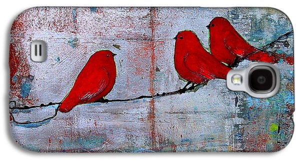Print On Canvas Galaxy S4 Cases - Red Birds Let It Be Galaxy S4 Case by Blenda Studio
