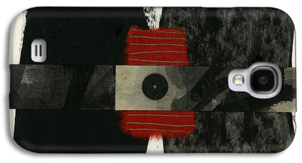 Torn Galaxy S4 Cases - Red Black and White Collage 3 Galaxy S4 Case by Carol Leigh