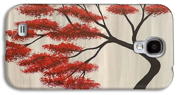 Fantasy Tree Paintings Galaxy S4 Cases - Red Bonsai Galaxy S4 Case by Darren Robinson