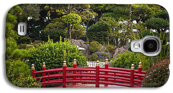 Garden Photographs Galaxy S4 Cases - Red bridge in Japanese garden Galaxy S4 Case by Elena Elisseeva