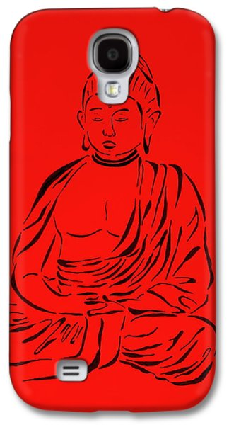 Religious Drawings Galaxy S4 Cases - Red Buddha Galaxy S4 Case by Pamela Allegretto