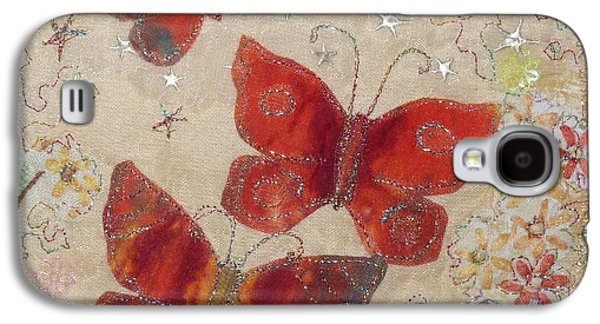 Fauna Tapestries - Textiles Galaxy S4 Cases - Red Butterflies Galaxy S4 Case by Hazel Millington