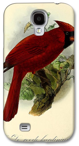 Ornithology Paintings Galaxy S4 Cases - Red Cardinal Galaxy S4 Case by J G Keulemans