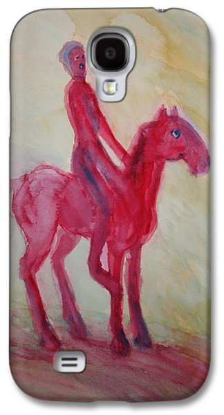 Mental Paintings Galaxy S4 Cases - Red centaur Galaxy S4 Case by Hilde Widerberg