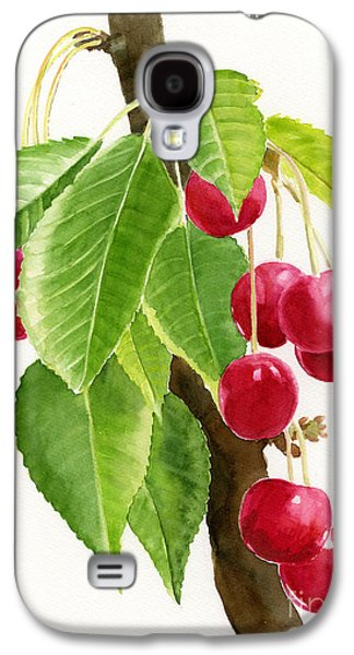 Fruit Tree Art Galaxy S4 Cases - Red Cherries on a Branch Galaxy S4 Case by Sharon Freeman