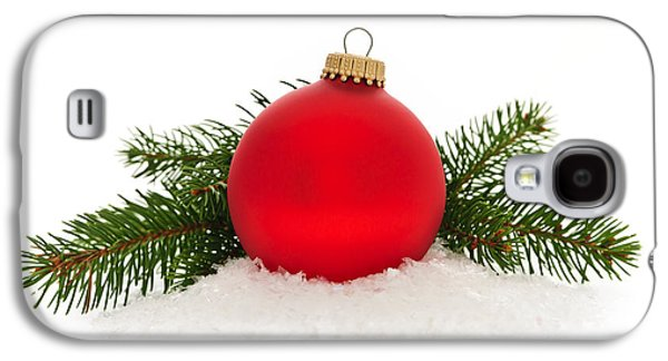 Festivities Galaxy S4 Cases - Red Christmas bauble Galaxy S4 Case by Elena Elisseeva