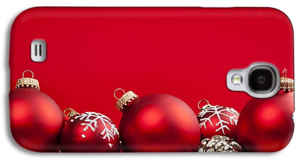 Festivities Galaxy S4 Cases - Red Christmas baubles and decorations Galaxy S4 Case by Elena Elisseeva