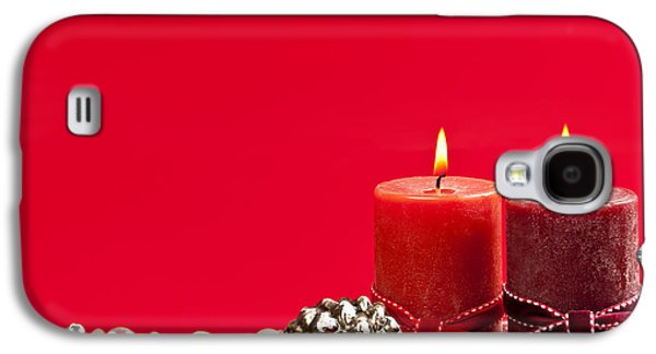 Pine Cones Photographs Galaxy S4 Cases - Red Christmas candles Galaxy S4 Case by Elena Elisseeva
