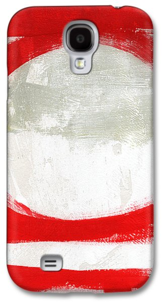 Texture Mixed Media Galaxy S4 Cases - Red Circle 2- abstract painting Galaxy S4 Case by Linda Woods