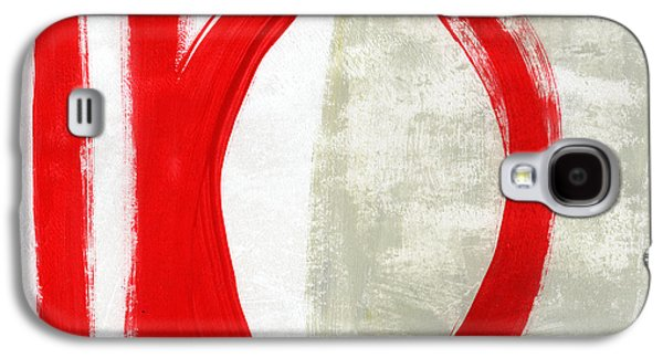 Texture Mixed Media Galaxy S4 Cases - Red Circle 5- abstract painting Galaxy S4 Case by Linda Woods