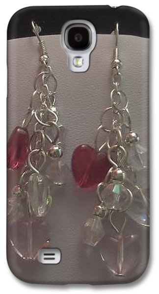 Round Jewelry Galaxy S4 Cases - Red Clear and Pink Mini Heart Cluster Earrings Galaxy S4 Case by Kimberly Johnson