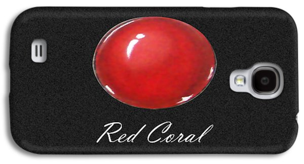 Zen Jewelry Galaxy S4 Cases - Red Coral Cabochon black Galaxy S4 Case by Marie Esther NC