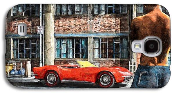 Transportation Mixed Media Galaxy S4 Cases - Red Corvette Galaxy S4 Case by Bob Orsillo