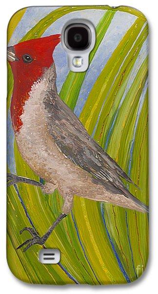 Bright Colors Glass Art Galaxy S4 Cases - Red-crested Cardinal Galaxy S4 Case by Anna Skaradzinska