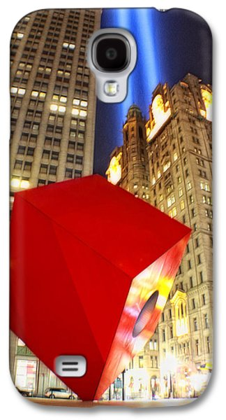 Wtc 11 Galaxy S4 Cases - Red Cube Sculpture and Tributes in Light Galaxy S4 Case by Nishanth Gopinathan
