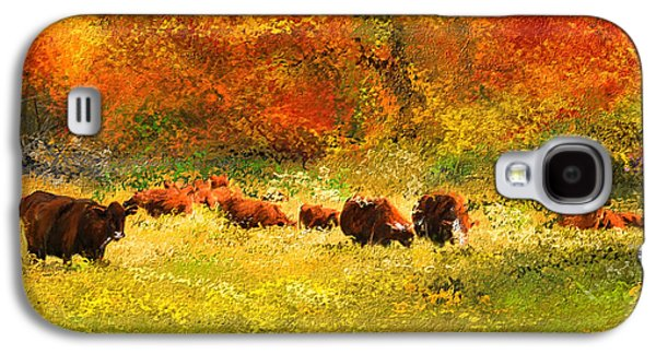 Pastoral Paintings Galaxy S4 Cases - Red Devon Cattle In Autumn -Cattle Grazing Galaxy S4 Case by Lourry Legarde