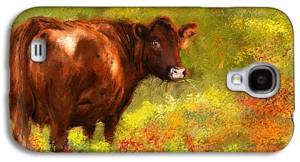 Farm Scene Galaxy S4 Cases - Red Devon Cattle - Red Devon Cattle in a Farm Scene- Cow Art Galaxy S4 Case by Lourry Legarde