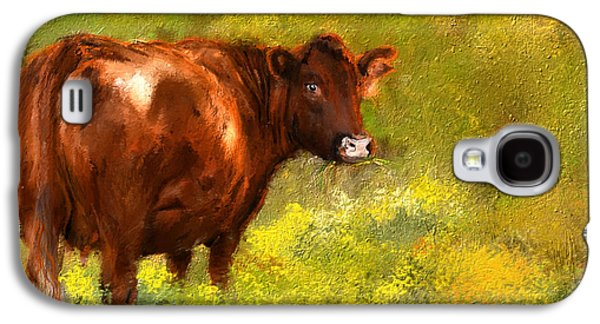 Autumn Scene Galaxy S4 Cases - Red Devon Cattle on Green Pasture Galaxy S4 Case by Lourry Legarde