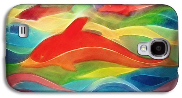 Dolphin Galaxy S4 Cases - Red Dolphin Galaxy S4 Case by Ann Croon