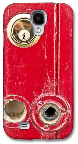Anti Galaxy S4 Cases - Red door lock Galaxy S4 Case by Tom Gowanlock